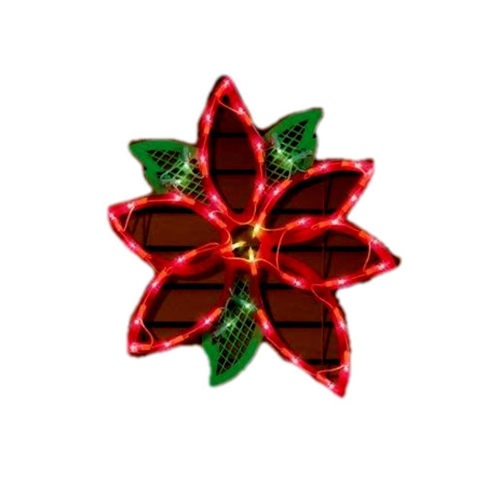 Mattsglobal Weather-Resistant Lighted Christmas Poinsettia Window Silhouette Decor 43bulbs
