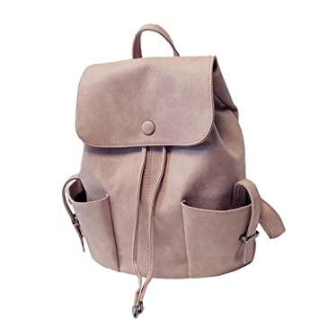 69dd2da3b2b8 Women s Duffel Double Shoulder Bag College Wind Solid Color Pleated Travel  Backpack Rucksack Satchel