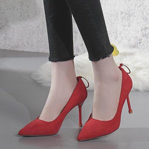 5 39 Haut Pointu 6 à Courte En Femme Pour Rouge 9cm Pointu à Bout Bout EU Red Daim UK à Avec Talon Talons Hauts Robe Robe wCq4BOx