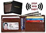 KALMORE Men's RFID Blocking Multi-Card Travel Bifold Genuine Leather Wallet (Full-Grain Leather Brown)