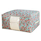 Qifumaer Blanket Storage Bag Thickened Waterproof Oxford Cloth Zippered Storage Bag Foldable Household Home Organizers for Bedding,Clothes, Quilts