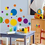 #7: RoomMates RMK1248SCS Just Dots Primary Colors Peel & Stick Wall Decals