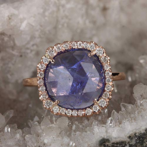(Genuine 4.04 Ct. Tanzanite Cocktail Ring Solid 14k Rose Gold Natural Diamond Pave Fine Wedding Jewelry Women's Day Gift)