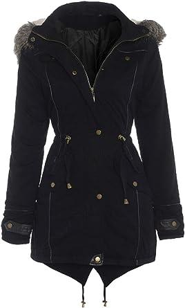 New Womens Cotton Parka Long Sleeve Winter Fur Trim Hooded Zip Jacket Size 8 24