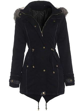 27d93ac8e6b8 Black OVERSIZED HOOD Parka Womens Coat Sizes 8 - 24  Amazon.co.uk ...
