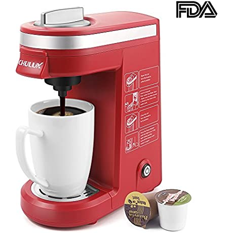 CHULUX Single Cup Coffee Maker Travel Coffee Brewer For K Cups Red