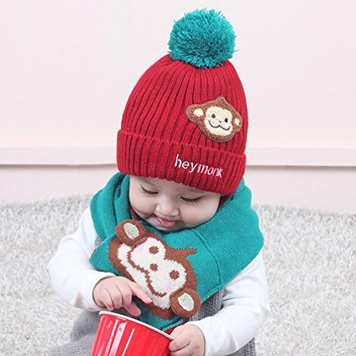 7d163024f0f Baby Boys Girls Cartoon Monkey Knitting Hat+Warm Scarf Child Winter Hats  Cap 2pcs for