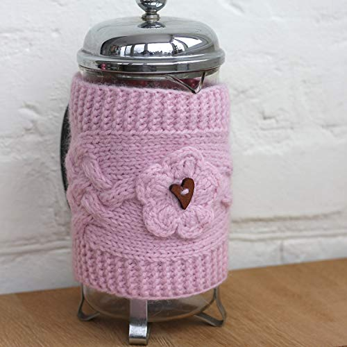 Knit French Press Cozy wool Hand knitting flower, Kitchen cosy french press, linen kitchen knit Cover Tea Pot Cozy, Birthday gift for her, home kitchen decor, housewarming gift knitting accessories