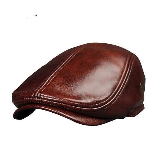 AUMING Boinas Unisexs Headwear Gorra Plana de Cuero marrón Inglés ...