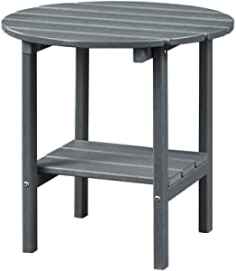 Ehomepert Outdoor Side Table-Adirondack Portable Rectangular End Table for The Beach, Camping, Picnics, Cookouts and More, HDPE Hard Plastic,Grey