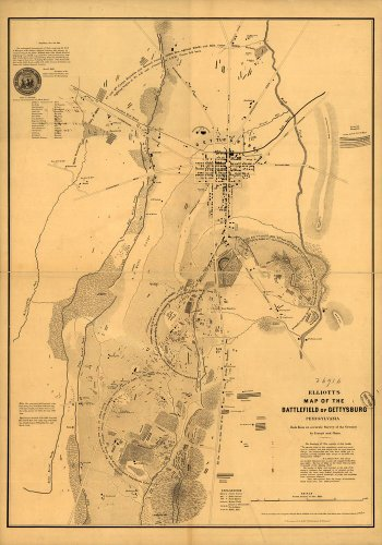 (Civil War Map Reprint: Elliott's map of the battlefield of Gettysburg, Pennsylvania Made from an accurate survey of the ground by transit and chain. F. Bourquin & Co., liths., Philada. )