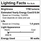 GE Lighting 66282 Energy-Efficient Halogen 90-Watt (120-watt replacement) 1790-Lumen PAR38 Floodlight Bulb with Medium Base, 2-Pack