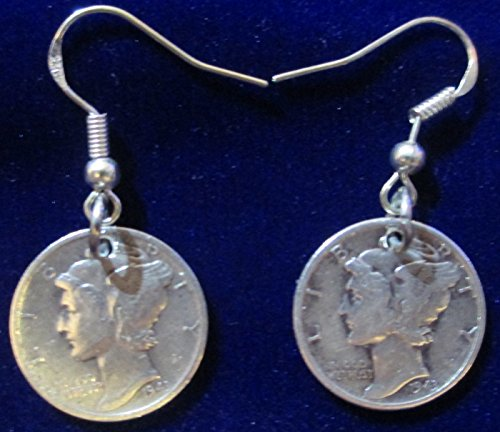 Mercury Dime (900 Silver) Earings with 925 Sterling Silver Earrings Hook Coil Ear Wires & Gift Bag (Dime Silver Mercury Sterling)
