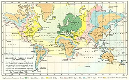 isochronic travel map showing days travel from london galton rgs 1881