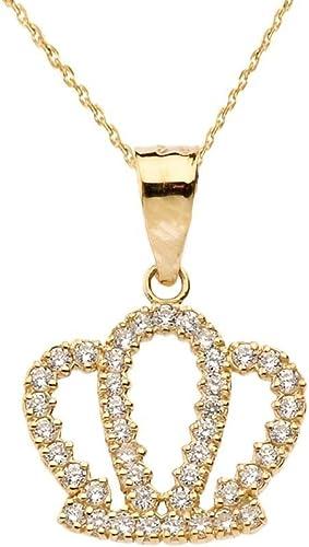 Exquisite 14k Yellow Gold Radiant CZ Royal Crown Pendant