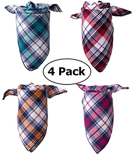 Upaw Plaid Dog Bandana, Pack of 4 Triangle Bibs Dog Kerchief Set, Scarfs Accessories for Small to Large Dogs Cat Pet