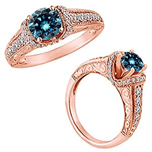 1.50 Carat Blue Diamond Beautiful Fancy Wedding Promise Anniversary Women Ring 14K Rose Gold