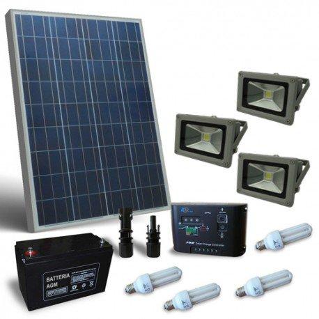 Kit solar Beleuchtung Fluo 130W 12V für Innen und Außen Photovoltaik