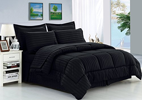 Elegance Linen Wrinkle Resistant - Luxury Silky Soft Dobby Stripe Bed-in-a-Bag 8-Piece Comforter Set -Hypoallergenic - King Black