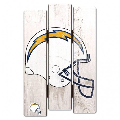 WinCraft NFL San Diego Chargers Wood Fence Sign, Black