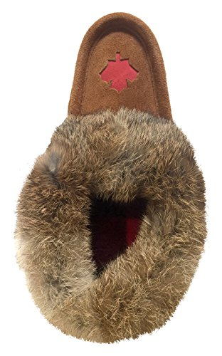 Laurentian Chief Womens Canadian Maple Leaf Suede Slippers with Rabbit Fur Collar Moccasins g4u3CnY6B