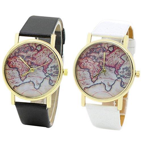 Unisex Watch Quartz Wristwatch World Map Leather Band 1 - 9