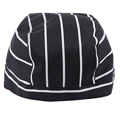 SM SunniMix Adjustable Unisex Chef Skull Cap - Tie Back Hat - Pirate Headwrap Bandana Hat Kitchen Catering Waiter Baker - Black and White - Stripes Headwrap