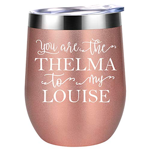 You Are The THELMA To My LOUISE | Best Friend Gifts for Women | Funny Long Distance Friendship, Birthday, Bachelorette, Going Away Gift for BFF, Roommate, Her | Coolife 12 oz Wine Tumbler With Lid]()