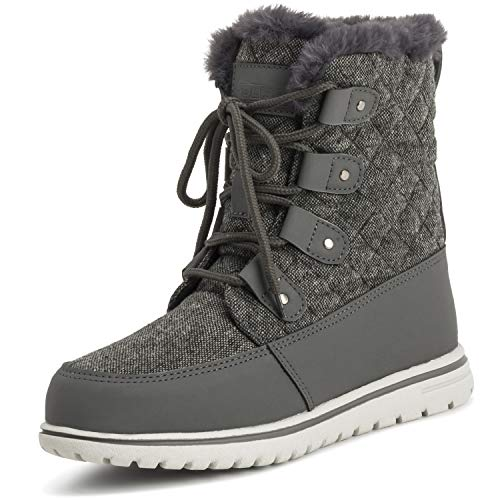 (Polar Womens Quilted Short Faux Fur Snow Waterproof Winter Durable Warm Boots - 7 - GRE38 AYC0524)