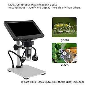 LCD Digital Microscope 7 inch 50X-1000X Magnification Zoom HD 720X1080P 2 Megapixels Compound USB Microscope 8 Adjustable LED Light Video Camera Microscope with 32G TF Card