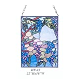 HF-13 Rural Vintage Tiffany Style Stained Church Art Glass Decorative Blue Style Floral Rectangle Window Hanging Glass Panel Suncatcher, 24''H18''W