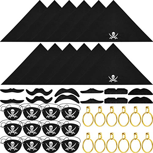 (Tatuo 48 Pieces Captain Pirate Costume Accessories, Including Pirate Eye Patches, Pirate Bandana, Pirate Gold Earrings, Pirate Fake Moustache for Halloween Children Party Favors)