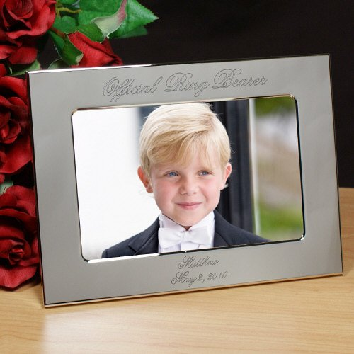 Ring Bearer Personalized Silver Picture Frame, Engraved, Holds A 4