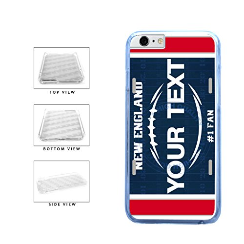 BleuReign(TM) Personalized Custom Name Football New England License Plate Clear Sides Plastic Phone Case Back Cover For Apple iPhone 6 6s (4.7 Inches -