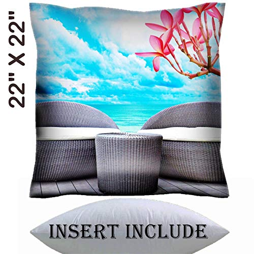 22x22 Throw Pillow Cover with Insert - Satin Polyester Pillow Case Decorative Euro Sham Cushion for Couch Bedroom Handmade Rattan seat lounge beside the sea Image 18820060 Customized Tablemats Sta ()
