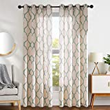 """large window treatments  Moroccan Tile Linen Textured Drapes Printed Curtain Panels Bedroom Living Room Thermal Insulated Window Treatment 2 Panel Drapes 95"""" L Sage"""