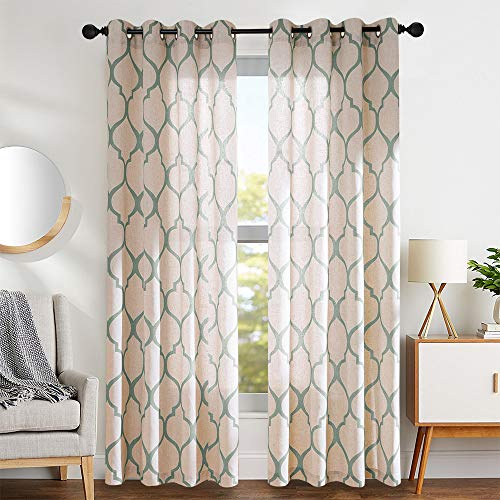 """Moroccan Tile Linen Textured Drapes Printed Curtain Panels Bedroom Living Room Thermal Insulated Window Treatment 2 Panel Drapes 95"""" L Sage"""