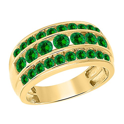 tusakha 3.00ctw Round Cut Created Emerald 14K Yellow Gold Over .925 Sterling Silver Three Row Wedding Band Ring For Men's