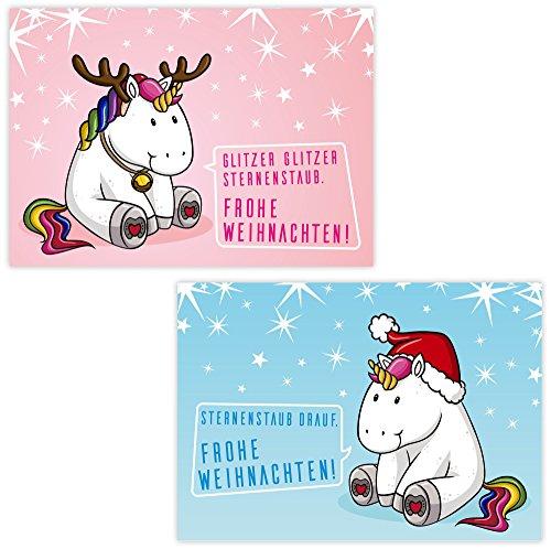 Frohe Weihnachten Glitzer.Artup De 10 Lustige Weihnachtskarten Dicke Einhörner 2 Fröhliche Motive Mit Je 5 Postkarten Din A6 Weihnachtsgrüße Im Set Mit Pummeligen
