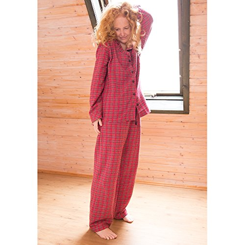best service 63143 ee728 Living Crafts Damen Flanell Schlafanzug aus Bio-Baumwolle ...