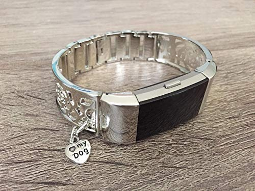 (Silver Metal Band For Fitbit Charge 2 Fitness Tracker Handmade Flowers Design Fashion Jewelry Fitbit Charge 2 Bracelet Silver Dog Lover Pet Charm Adjustable Size Fitbit Charge 2 Bangle)