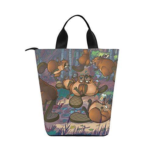 Silly Meow Cute Beavers Custom Lunch Bags Nylon Cylinder Kids Lunch Box Adult Teens Lunch Tote (Beaver Bag Lunch)