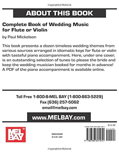 Amazon Complete Book Of Wedding Music For Flute Or Violin 9780786691951 Paul Mickelson Books