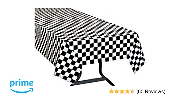 Black /& White Checkered Racing 50/'s Diner TABLECOVER Cloth Birthday Party Decora