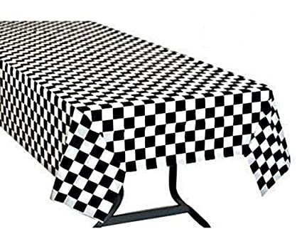 Ordinaire Pack Of 3, Black U0026 White Checkered Flag Table Cover Party Favor/Checkered  Tablecloth
