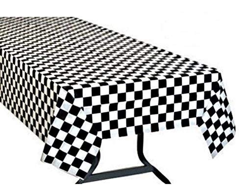 Oojami Pack of 3, Black & White Checkered Flag Table Cover Party Favor/Checkered Tablecloth/Disposable Checkered Racing Table Cover]()