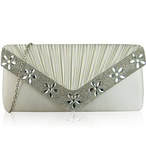 Bridesmaid London Bridal Ivory Xardi Party Women Bags Envelope Wedding For Ladies Party Evening Diamante Satin Clutch Sparkling Floral Pleated Gems RvCvwq