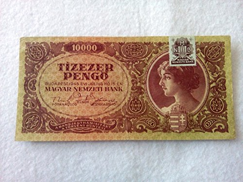 Hungary 10000 pengo 1945 banknote with stamp (Hungary Note)