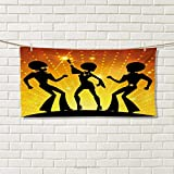Chaneyhouse 70s Party,Travel Towel,Dancing People in Disco Night Club with Afro Hair Style Bokeh Backdrop,Quick-Dry Towels,Orange Yellow Black Size: W 14'' x L 27.5''