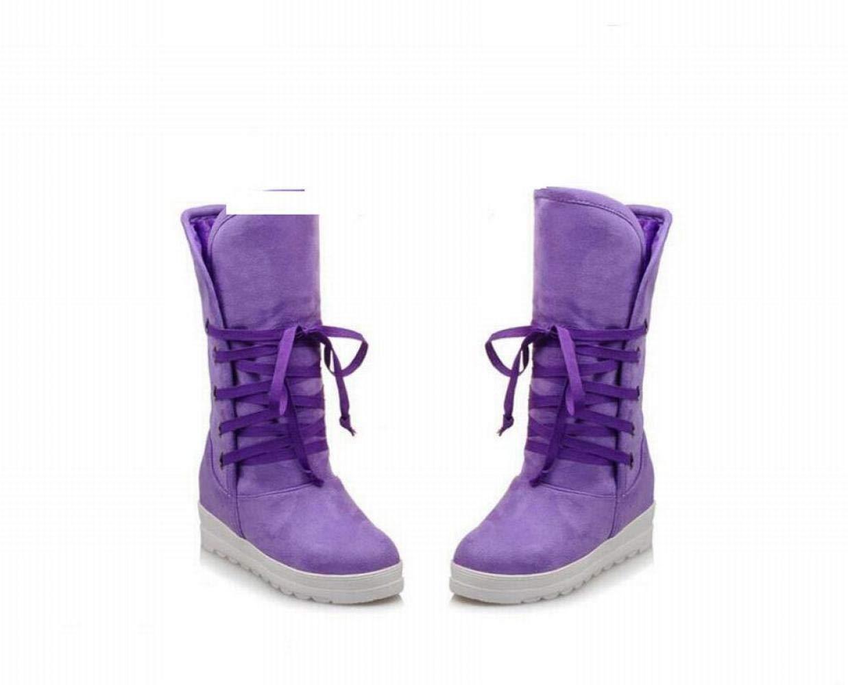 Damenstiefel - Matte Wildleder Im Rohr Schnee Stiefel Winter Dicke Warme Rutschfeste Student Schuhe Baumwolle Schuhe   34-43 Lila 43